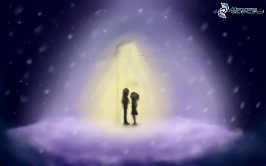 couple, Lamp, night