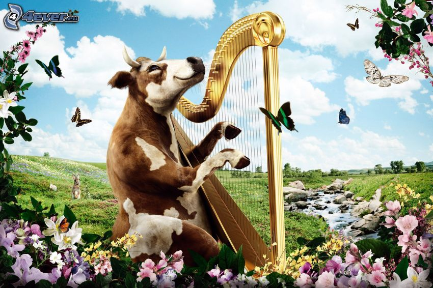 cow, harp, butterflies, flowers, stream