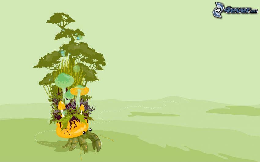 crab, trees, mushrooms
