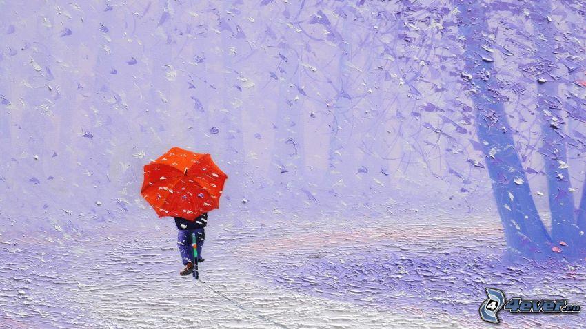 cyclist, man with umbrella, snow, tree
