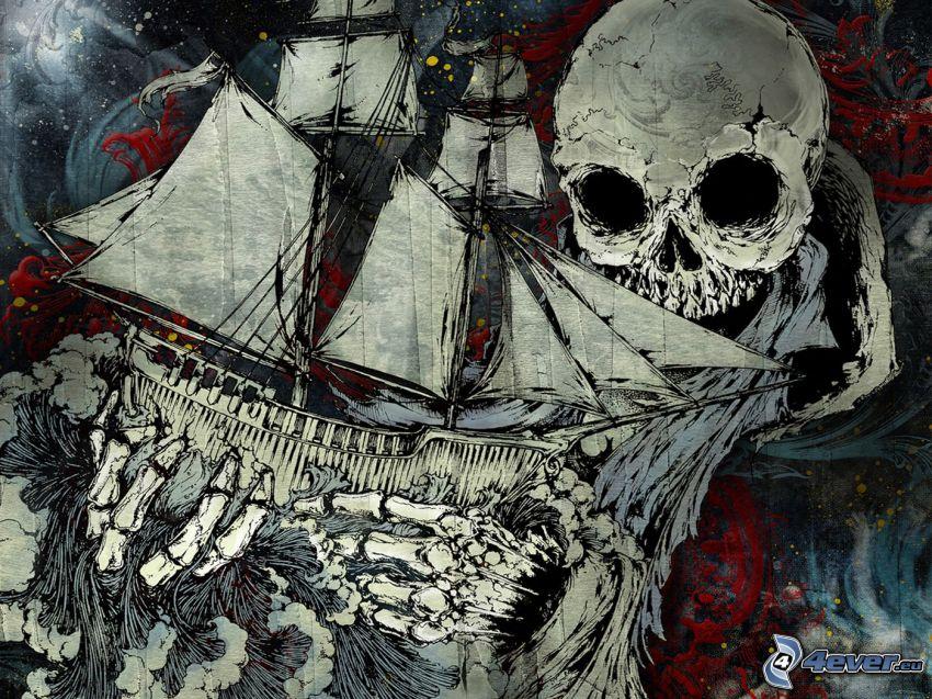 cartoon sailboat, skull, death