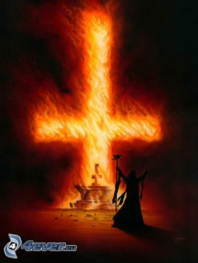 cross, fire, flames, devil