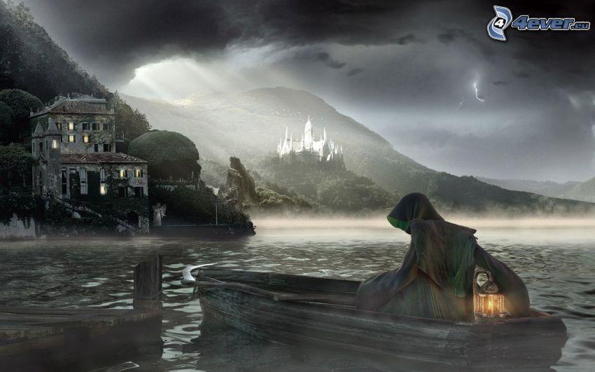 dark grim reaper, boat, castle, bay
