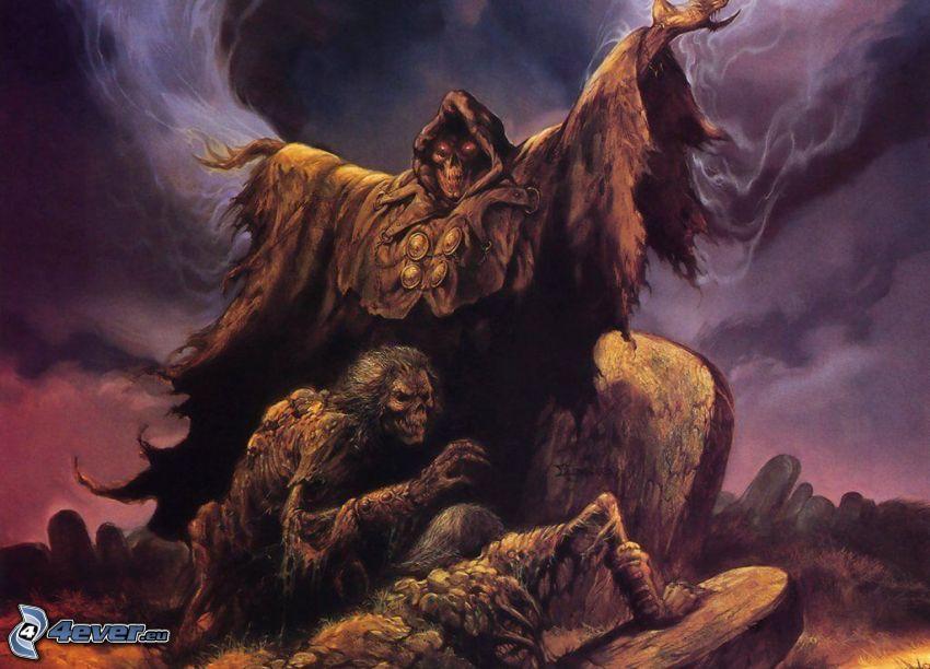 dark grim reaper, monster, death, grave, cemetery