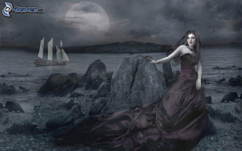 dark princess, beach, ship