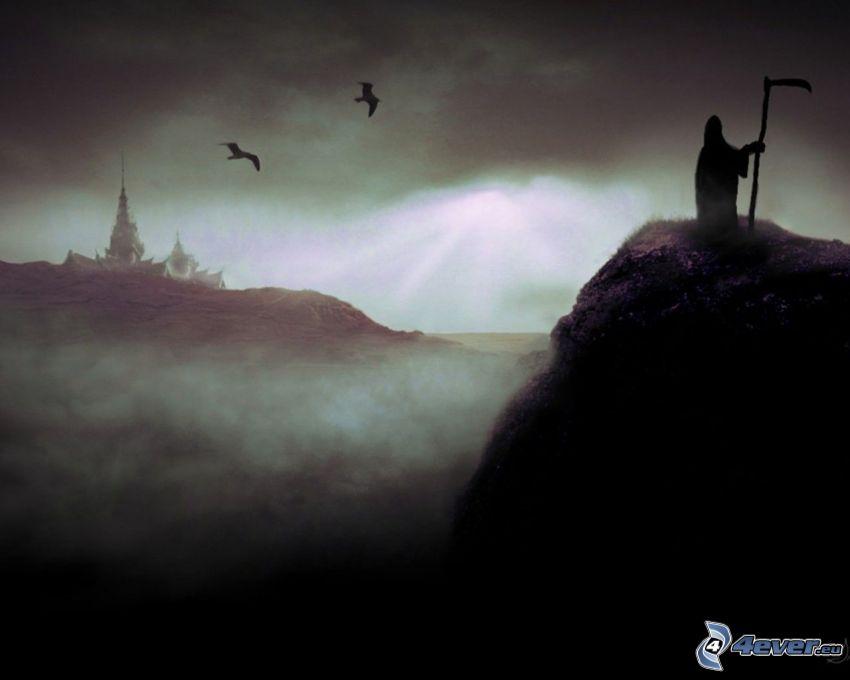 death, fog, valley, hill, bird, sky