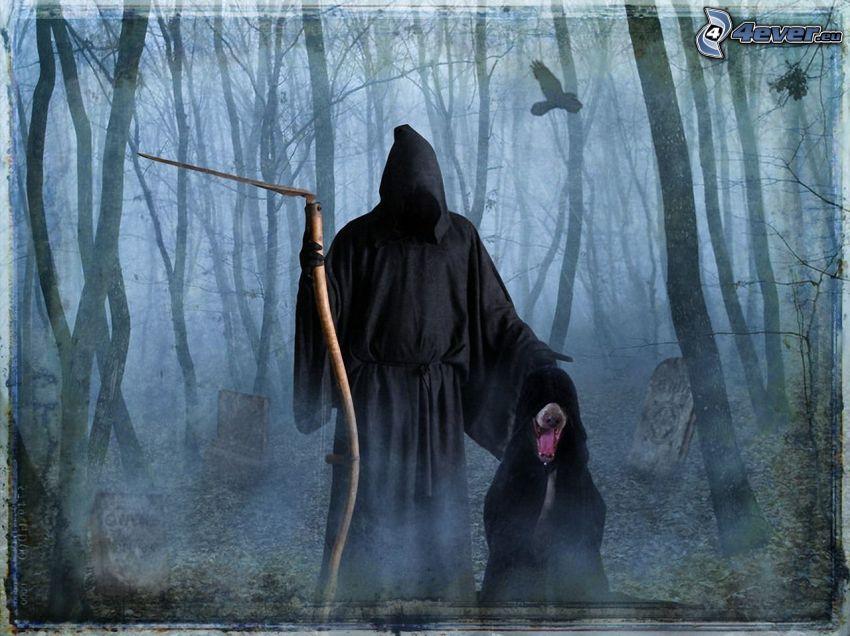 Grim Reaper, dark forest, cemetery