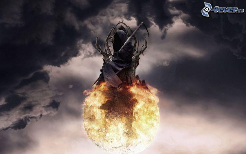 Grim Reaper, planet, dark clouds