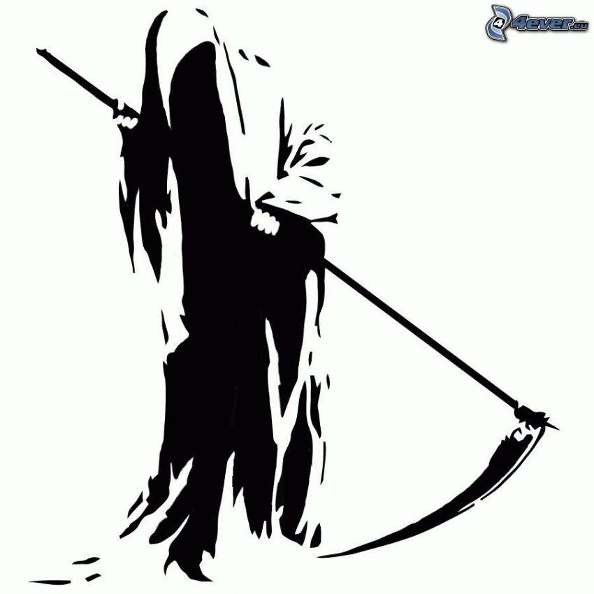 Grim Reaper, scythe, black and white