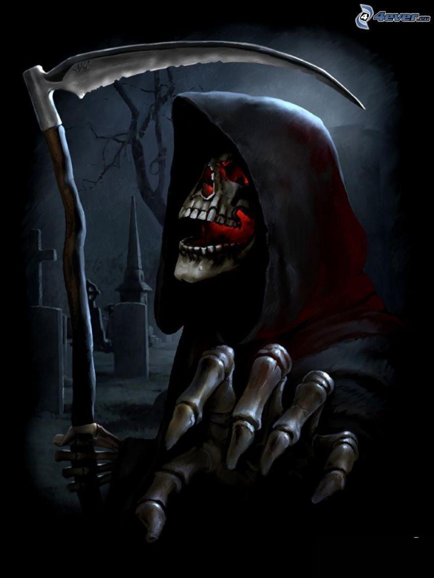 Grim Reaper, scythe, cemetery