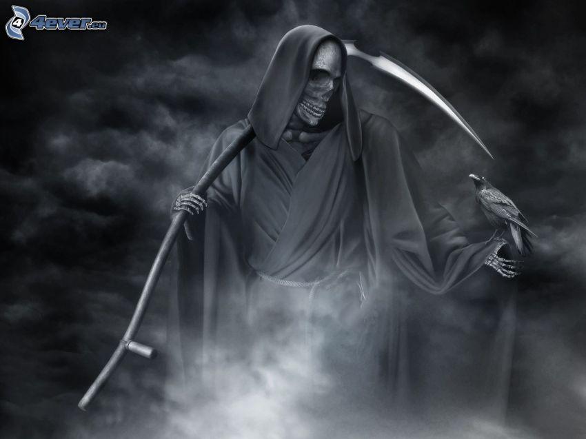 Grim Reaper, scythe, dark clouds