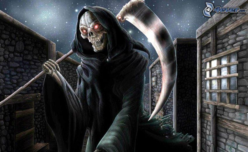 Grim Reaper, scythe, night