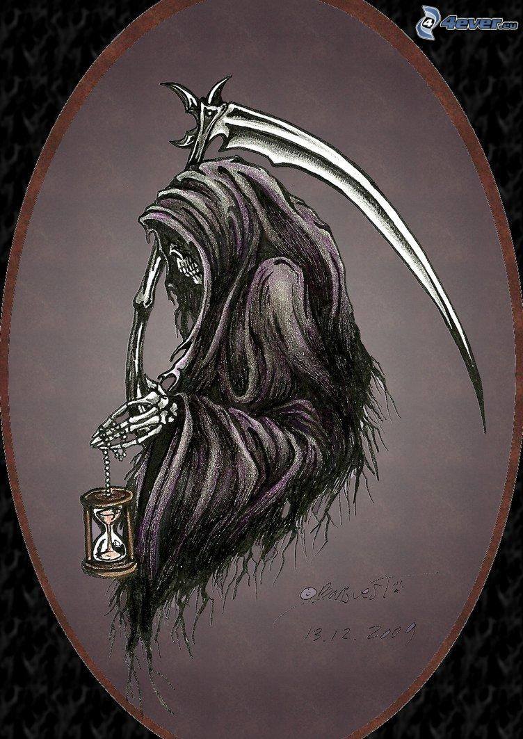 Grim Reaper, scythe, sand-glass