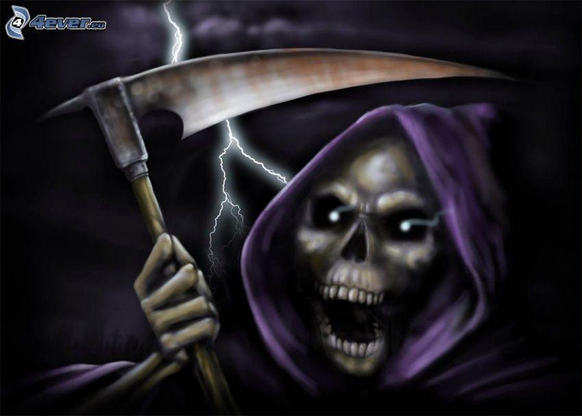 Grim Reaper, scythe, scream, lightning