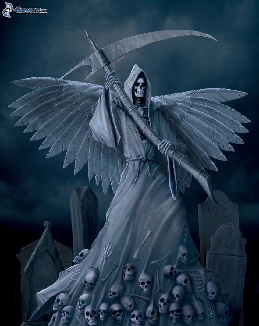 Grim Reaper, scythe, skulls