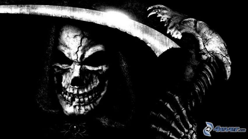 Grim Reaper, skull, black and white