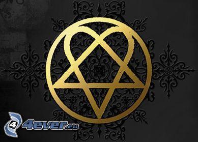 HIM, emblem, heart, pentagram