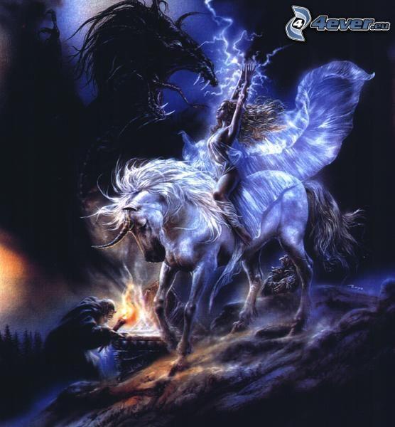 Pegasus, fighter, black dragon, lightning