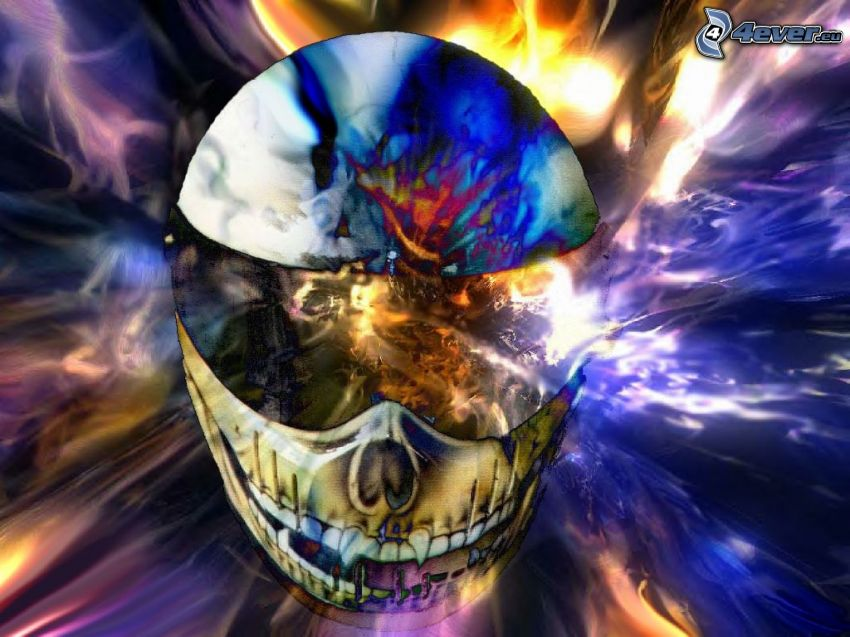 skull, art, graphic, fire, death, flame