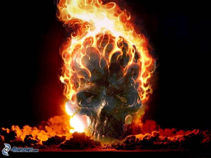 skull, fire, death, explosion