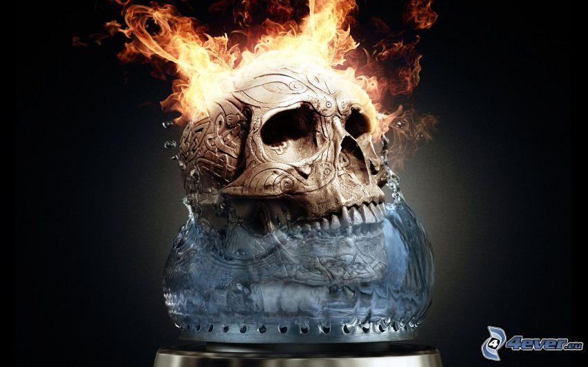 skull, flames, water
