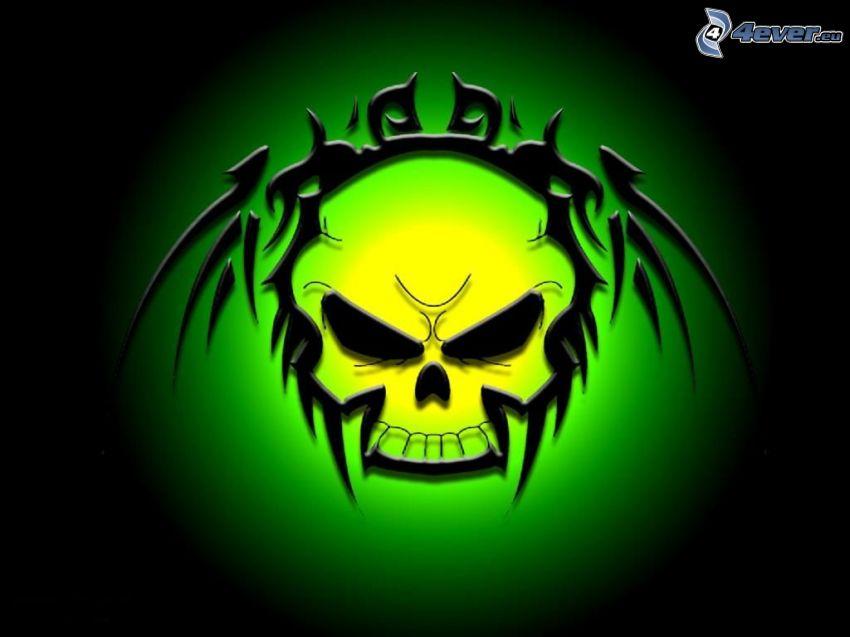 skull, green background