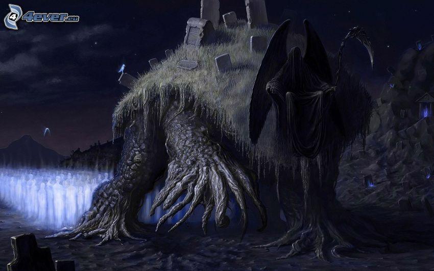 dark grim reaper, cemetery