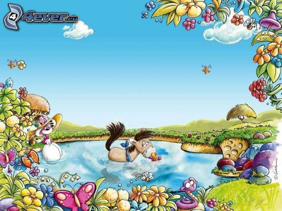 Diddl, cartoon horse, lake, fairy tale land