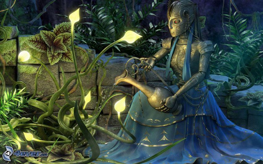 aquarius, flowers, fantasy