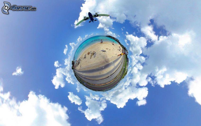 ball, aircraft, clouds