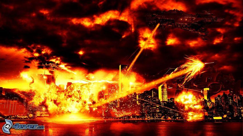 battle, war, New York, fire