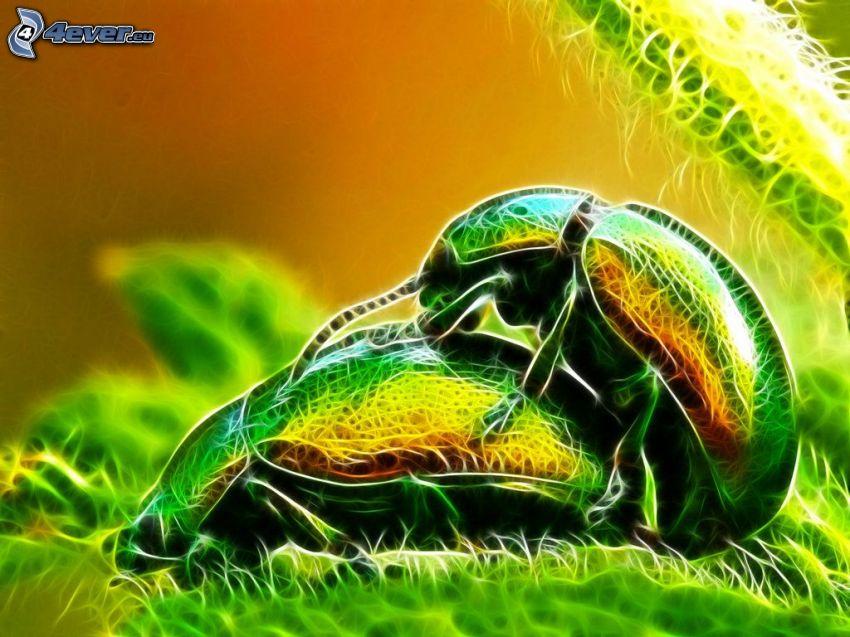 beetle, mating, fractal animals