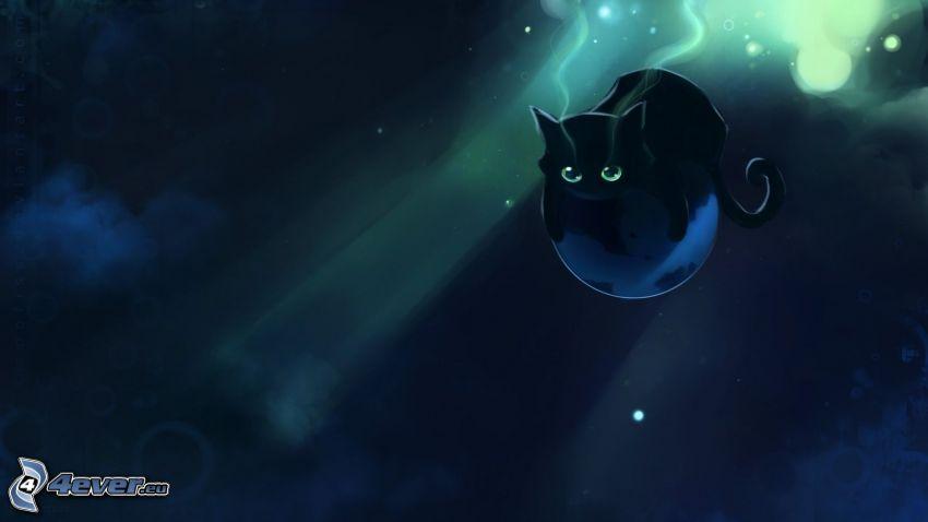 black cat, cartoon cat