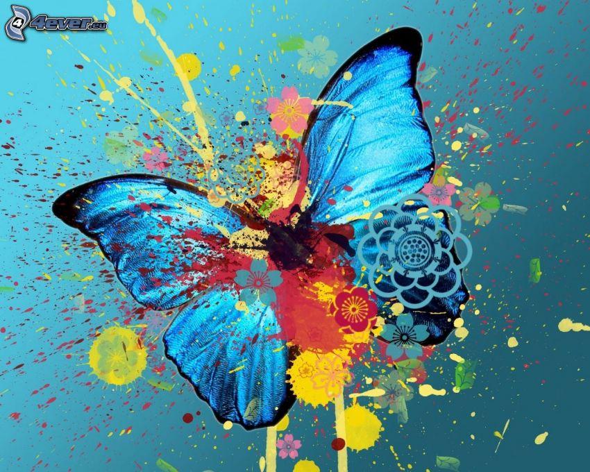 blue butterfly, color splash