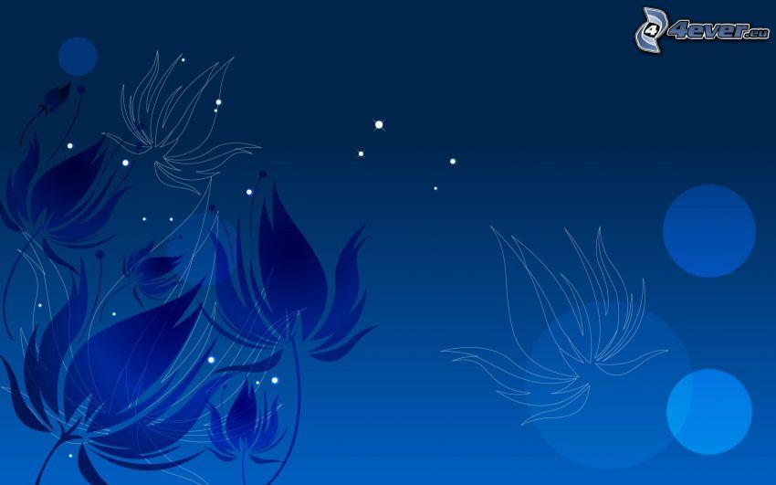 blue flowers, blue background