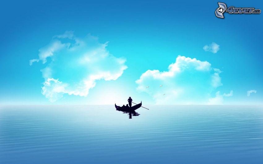 boat at sea, silhouette, sea, clouds