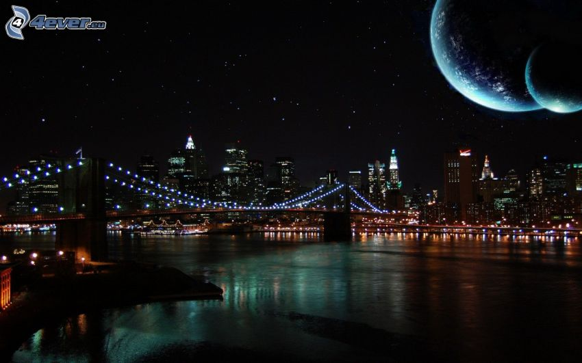 Brooklyn Bridge, bridge, night, planets