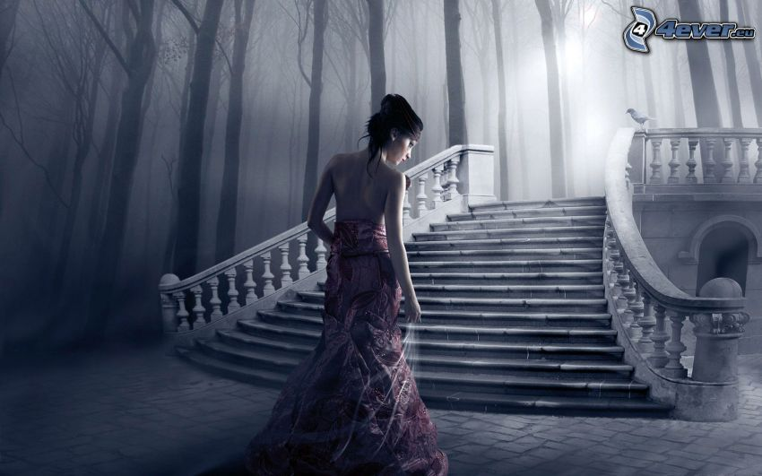 brunette, woman, historic stairs, forest