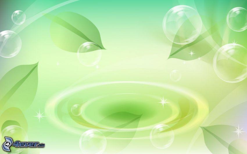 bubbles, leaves, splash