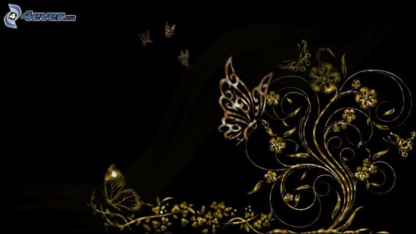 butterflies, flowers
