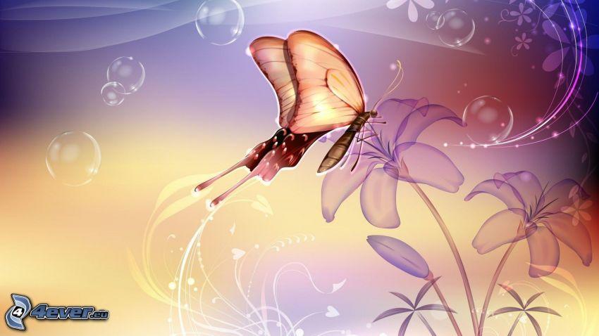 butterfly on flower, bubbles