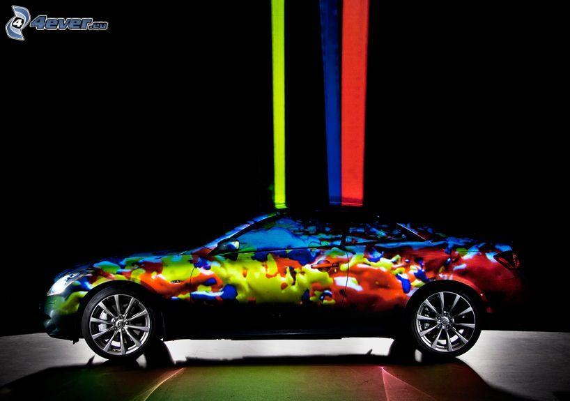 car, colors, colored stripes