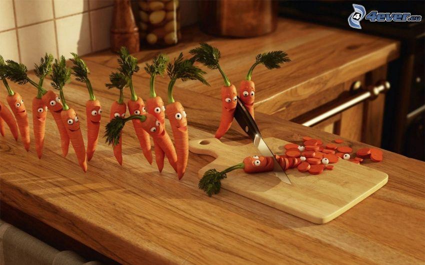 carrot, smiles, board