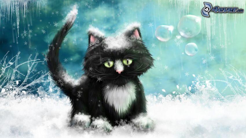 cartoon cat, black cat, snow