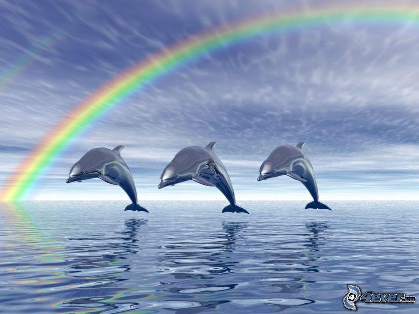 cartoon dolphins, jumping dolphins, rainbow, sea