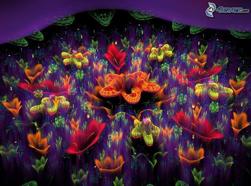 cartoon flowers, fractal