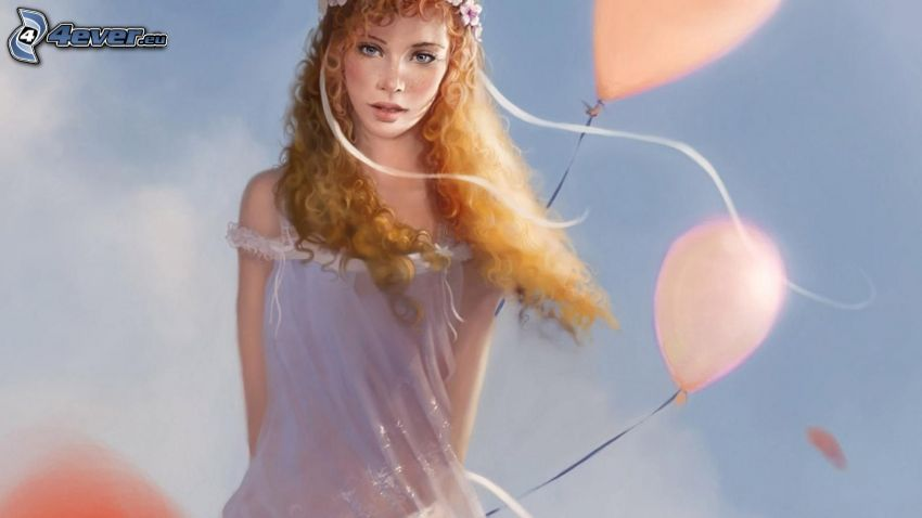 cartoon girl, redhead, balloons