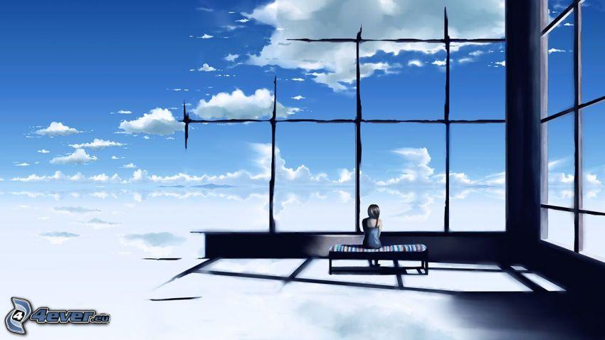 cartoon girl, windows, clouds