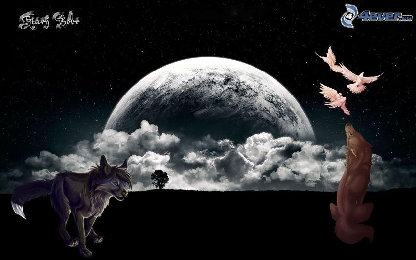 cartoon wolves, moon, clouds