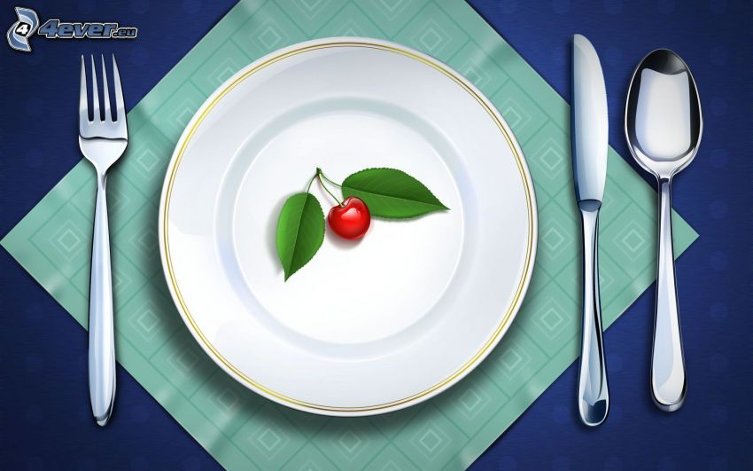 cherry, plate, cutlery